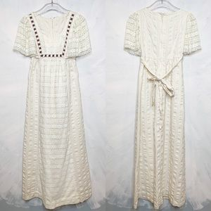 Vintage Ivory Lace Maxi Dress Flutter Sleeve